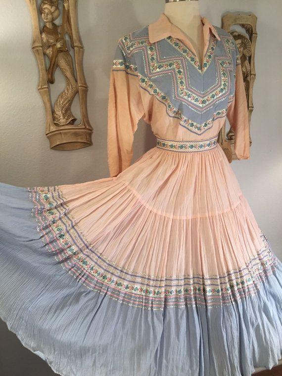 1950s 2 Piece Southwestern Patio Dress by by AwwwShucks on Etsy