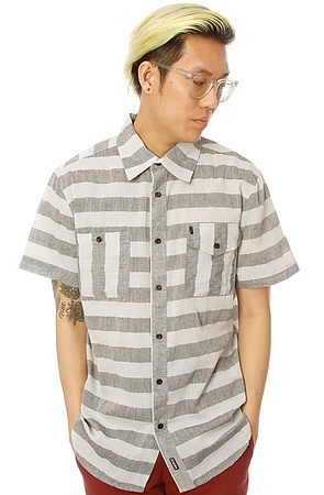 The Document Short Sleeve Buttondown in Black & White S|M|L|XL