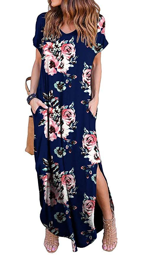7c4c8e487990 GRECERELLE Women's Casual Loose Pocket Long Dress Short Sleeve Split Maxi  Dresses at Amazon Women's Clothing store: