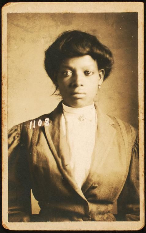 "New Orleans police photograph of Bertha Farnsworh, charged with being a ""suspicious person,"" 1908. Photograph by Schomburg Center / New York Public Library Digital Collections."