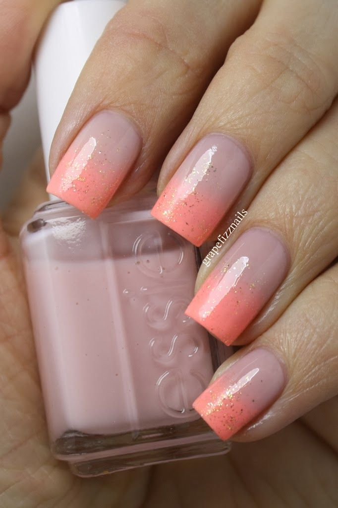 Nude and Flourescent Gradient - grape fizz nails