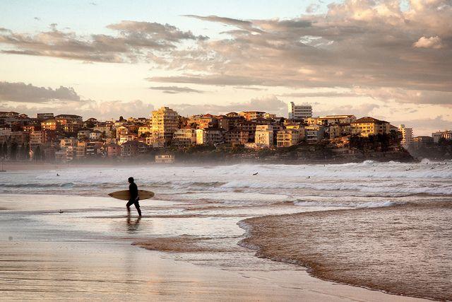 Surfer on Manley Beach at sunset - Sydney, Australia