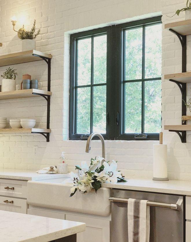 Painted Brick Backsplash Kitchen Featuring Painted White Brick Backslplash Black Stee White Brick Backsplash Brick Backsplash Kitchen Painted Brick Backsplash