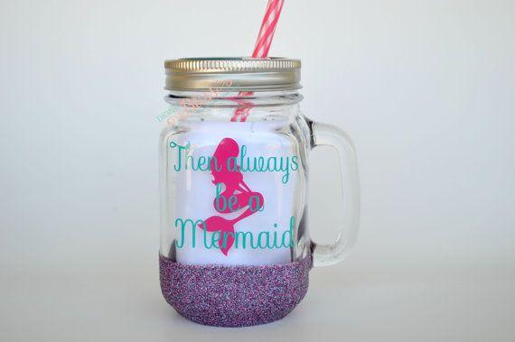 Vaso di vetro di sirena, barattolo bicchiere, bicchiere in vetro, tazza di vetro, vaso di muratore di sirena