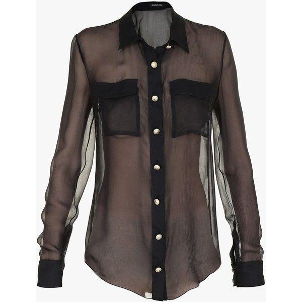 Balmain Silk-chiffon shirt ($1,465) ❤ liked on Polyvore featuring tops, see through tops, transparent shirt, balmain shirt, shirts & tops and silk chiffon top