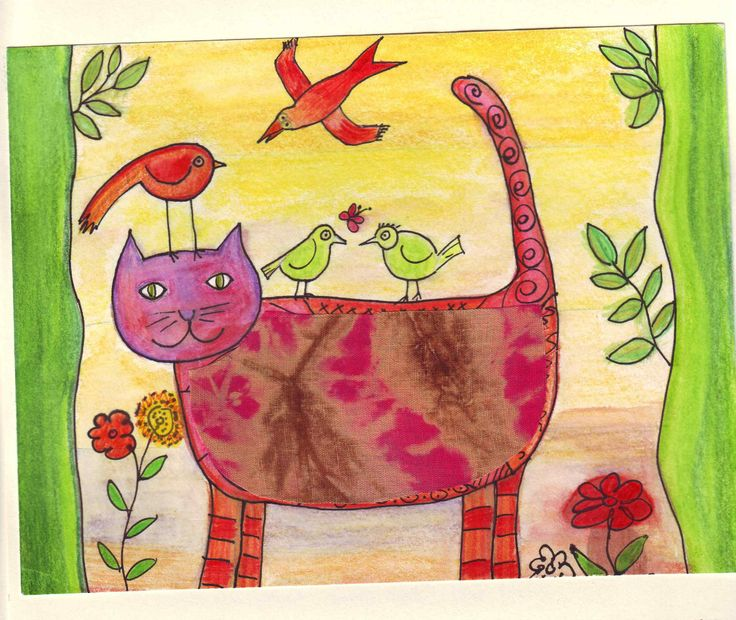 Lilli and the birds. Drawing with watercolour pencils.