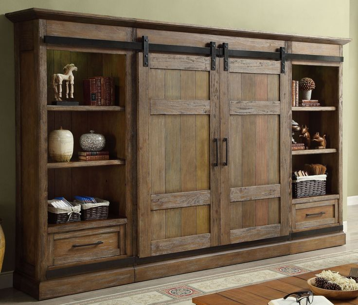 Hunts Point Vintage Weathered Pine Entertainment Wall ...