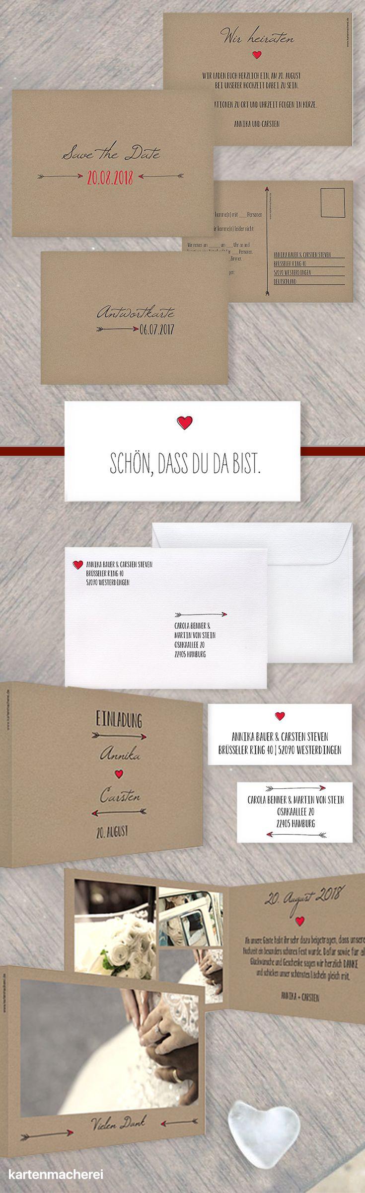 Papeterie aus wunderschönem Kraftpapier. Mit dieser Serie habt ihr von der Save the Date Karte, über die Antwort-, Einladungs- und Dankeskarte alles in einem Design. Farben und Material eignen sich für eure Hochzeit im Winter.