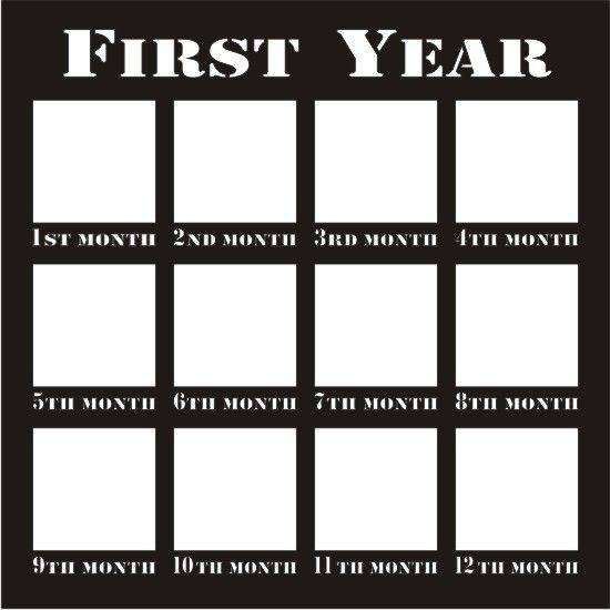 First Year 12 x 12 Overlay Die Cut
