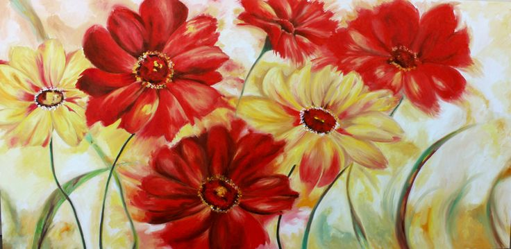 Oltre 25 fantastiche idee su dipinti su tela astratti su for Quadri fiori stilizzati