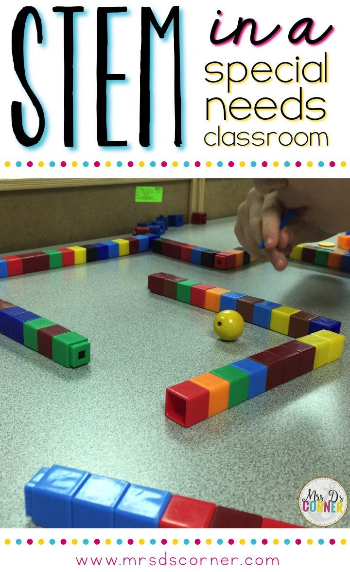 How to modify STEM activities and implement them in a special needs classroom. STEM activities for special education.  Every special ed teacher needs to read this post.  It is such great information on using this important concept with our students with special learning needs.  GREAT!!  Read more at:  http://www.mrsdscorner.com/2016/04/STEMforspecialneeds.html
