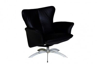 Wilmer hvilestol lav black leather chair hjort knudsen danish design www.helsetmobler.no