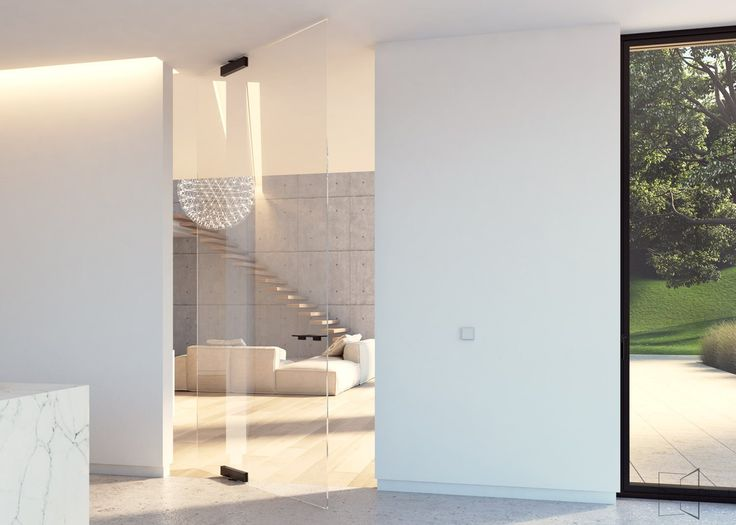 Glass Pivot Door With Compact Glass Patch Fittings And Offset Axis Pivoting  Hinges.