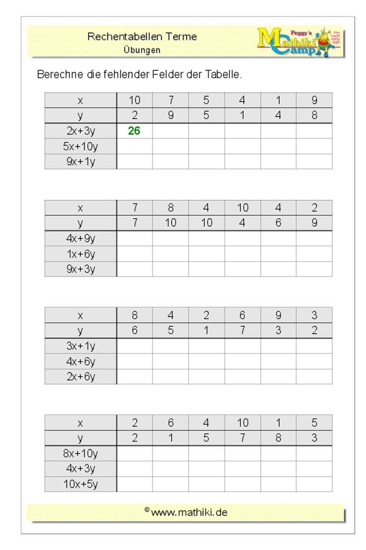 Terme berechnen Klasse 20/20   kostenloses Arbeitsblatt mit ...