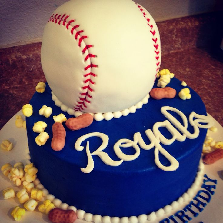 Kansas City Royals baseball cake with popcorn and peanuts