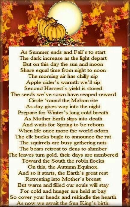 A piece of nice poetry discussing Mabon and the changing seasons.