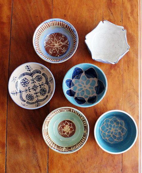 Cumbuca artesanal de cerâmica Batik