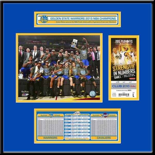 """Golden State Warriors 2015 NBA Finals Champions 18"""" x 18"""" Ticket Frame Jr. - $124.99"""