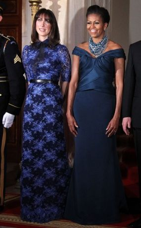 First Lady Michelle Obama (in Marchesa) and Samantha Cameron (in Alessandra Rich).