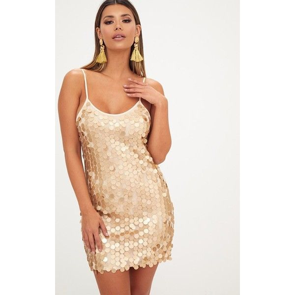 Gold Glitter Sequin Front Cami Dress ($37) ❤ liked on Polyvore featuring dresses, yellow, sequin dress, white dress, yellow cocktail dress, gold glitter dress and gold sequin cocktail dresses