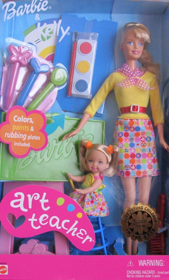 Amazon.com: ART TEACHER Barbie & Kelly Doll (2002):  I have the brunette in my art room!  You can also look for this item on eBay.