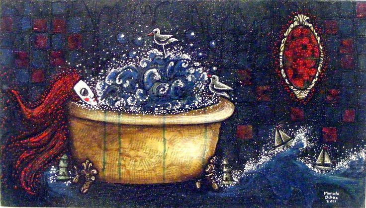 http://estilomapula.blogspot.com/2014/12/la-pintora-marcela-ochoa.html?spref=pi Agua, barquitos de papel, burbujas, un espejo. El arte de esta pintura está construido con adorable refinamiento, lenguaje simbólico y densa reflexión.