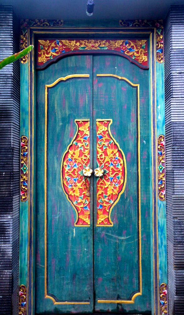 Beautiful hand carved doors in Bali, Indonesia. www.villapantaibali.com  Don't forget when traveling that electronic pickpockets are everywhere. Always stay protected with an Rfid Blocking travel wallet. https://igogeer.com for more information. #igogeer