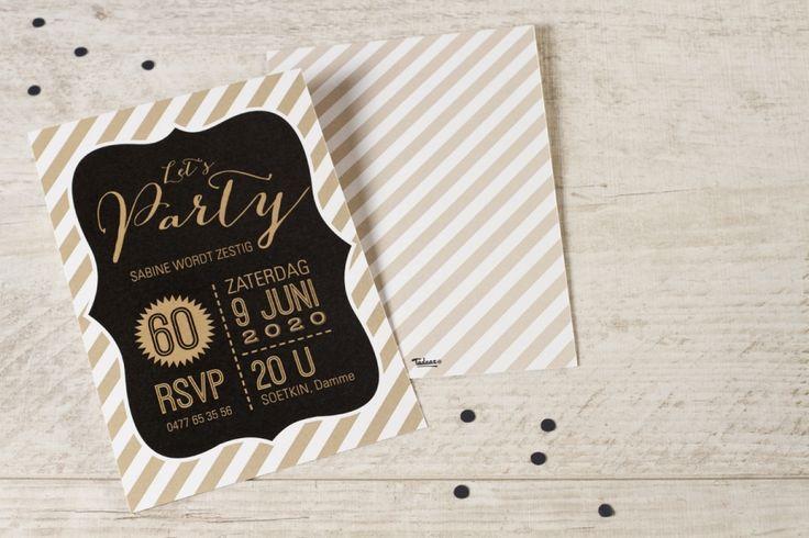 Trendy uitnodiging 'Let's party' | Tadaaz #goud #zwart #stijlvol #uitnodiging #feestje #party #verjaardag #birthday