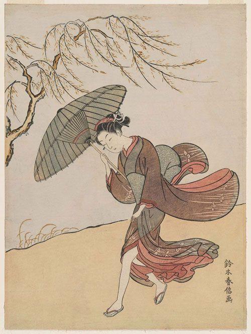 柳の下に風になやむ美人 川沿いの道でしょうか。柳の枝も風になびき、娘さんの着物の裾もなびいて膝小僧まで見えています。はだけた裾が気になる可愛らしい娘さんがちょっと恥じらう様子が胸キュンポイント。