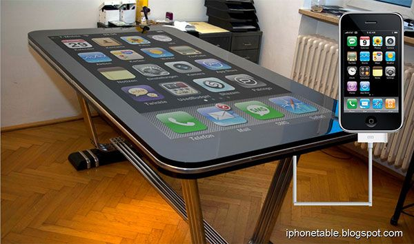 cool latest top new technology gadgets iphone table connect (I'm not a huge fan of iPhones I think android phones are much better but this is pretty cool!)