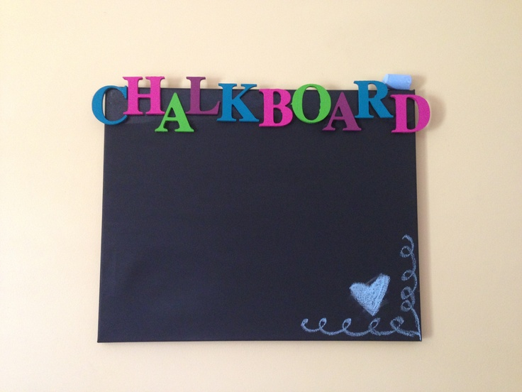 chalk board on a canvas with wooden painted letters $10 to make!