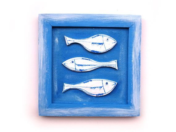 Ceramic fish art Ocean blue fish art Fish Home decor by 99heads