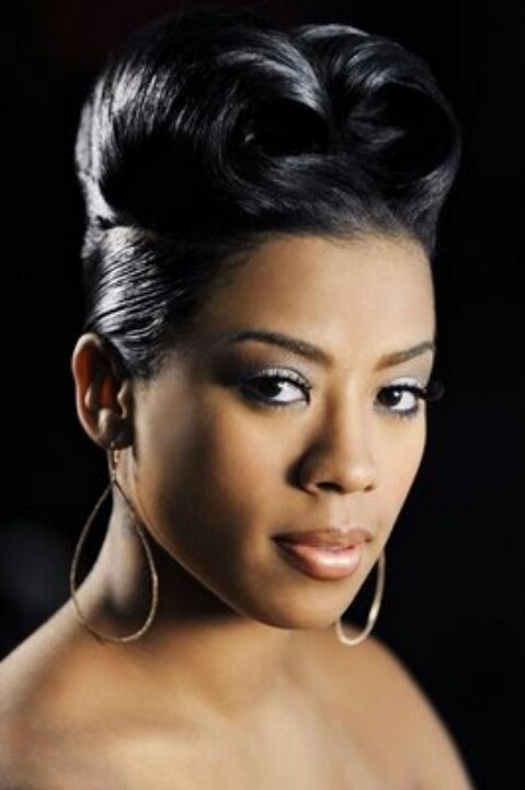 Keyshia Cole With A French Roll Hairstyle Black Hair