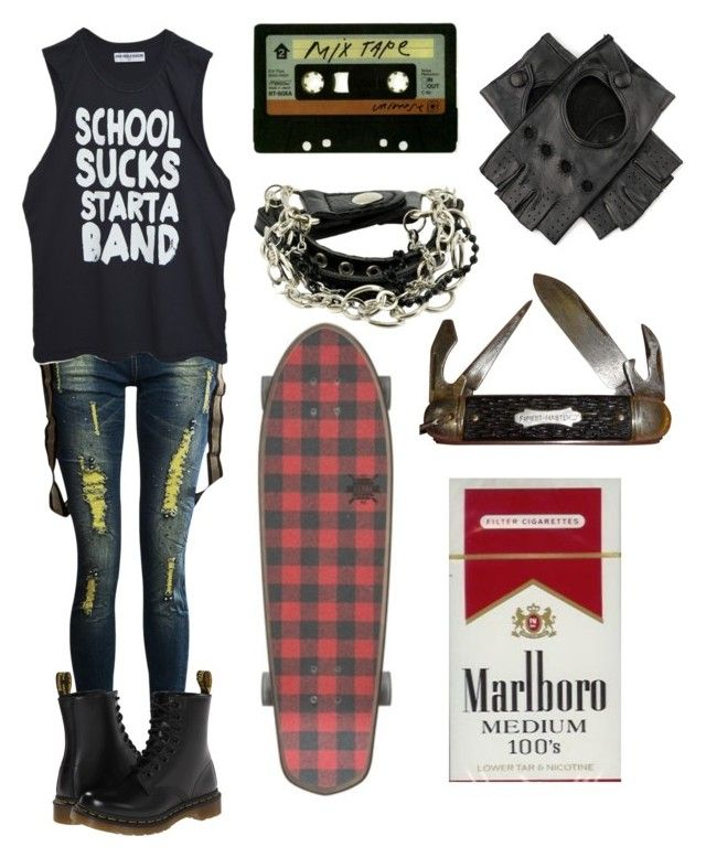 """""""Punk skater kid"""" by xxkrysxx ❤ liked on Polyvore featuring High Heels Suicide, Dr. Martens, Michele, Black and vintage"""
