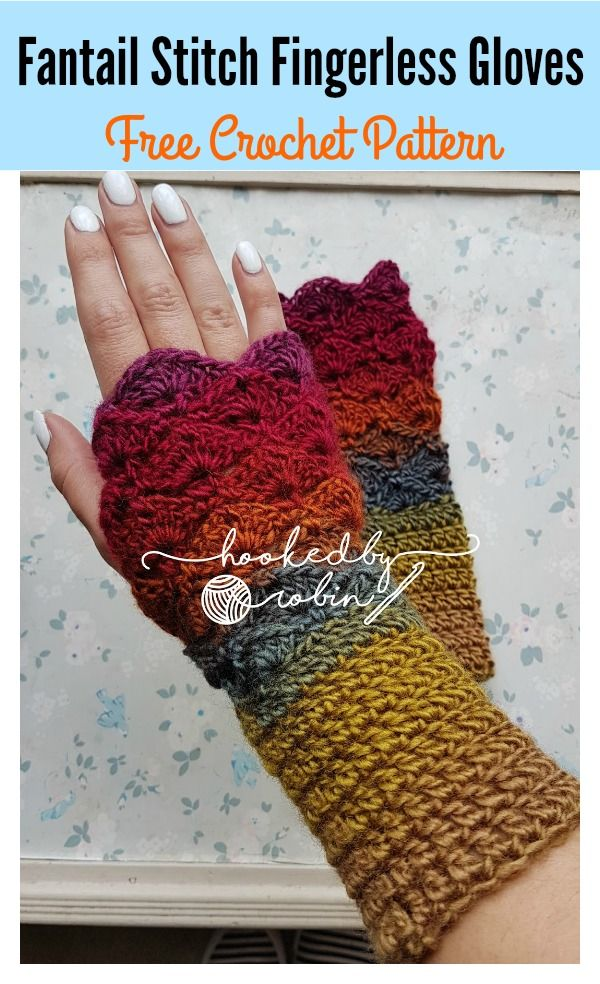 Fantail Stitch Fingerless Gloves Free Crochet Pattern