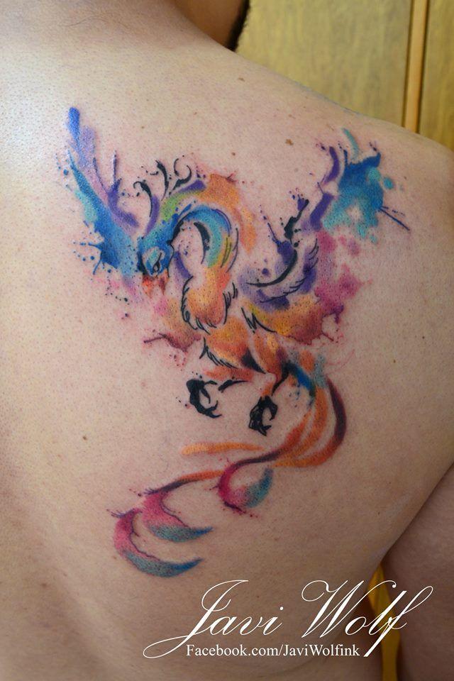 Watercolor phoenix :)Diseño y estilo propio.  Tattooed by javiwolfinkwww.javiwolf.com