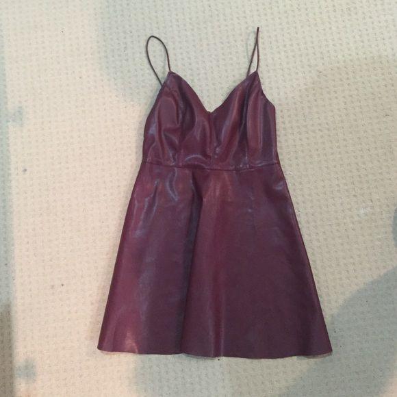 Maroon skater dress Leather maroon skater dress, comfortable fit Forever 21 Dresses Mini
