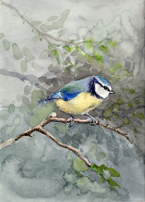 Blue Bird Painting Original Watercolor By