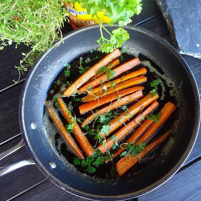Edel's Mat & Vin : Stekte gulrøtter  ✿