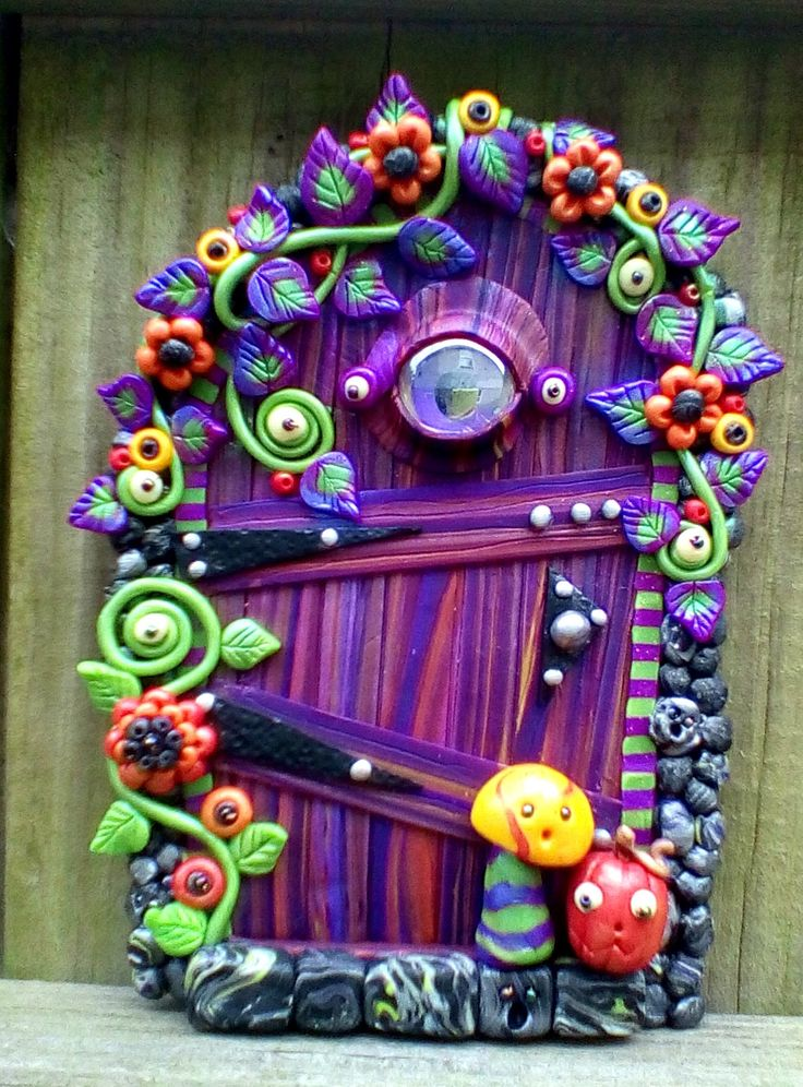 Purple Eye Halloween Door polymer clay pixie portal pinkchihuahuacrafts - pinned by pin4etsy.com