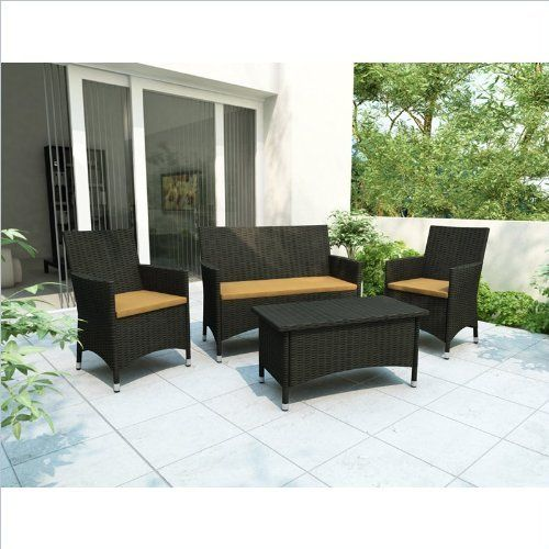 Sonax Cascade 4 Piece Patio Set in River Rock Black Weave by Sonax. $699.00. Heavy Duty Aluminum Alloy frames. Durable and Easy to care for Resin Rattan Wicker in River Rock Black. Removable Sunset Yellow seat covers over high quality foam cushions for maximum quality and comfort. Accent cushions available in 5 different colors, sold separately. Set includes one Bench Seat and Coffee Table (S-104-DCP), and pair of Chairs (C-104-DCP). Get into this summer with the inviting C...