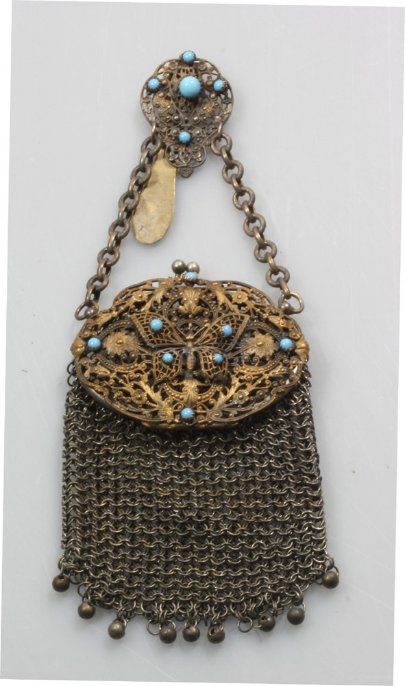 RARE BUTTERFLY CHATALAINE PURSE Antique 19th CENTURY SILVER PLATE FILEGREE  