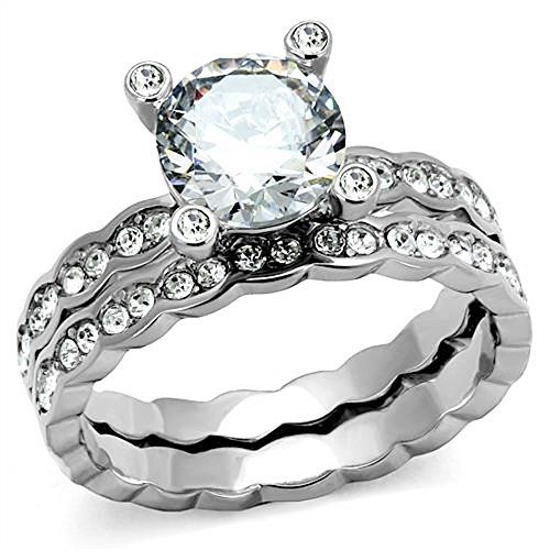 250 Ct Round Cut Cz Stainless Steel Womens Wedding Ring Set Size 510 9 Click