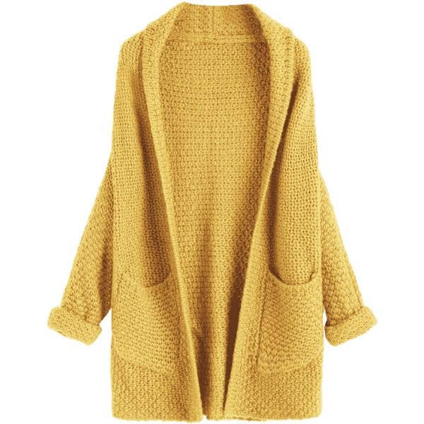 Curled Sleeve Batwing Open Front Cardigan Mustard (79130 PYG) ❤ liked on Polyvore featuring tops, cardigans, open cardigan, brown top, brown open front cardigan, mustard top and batwing tops