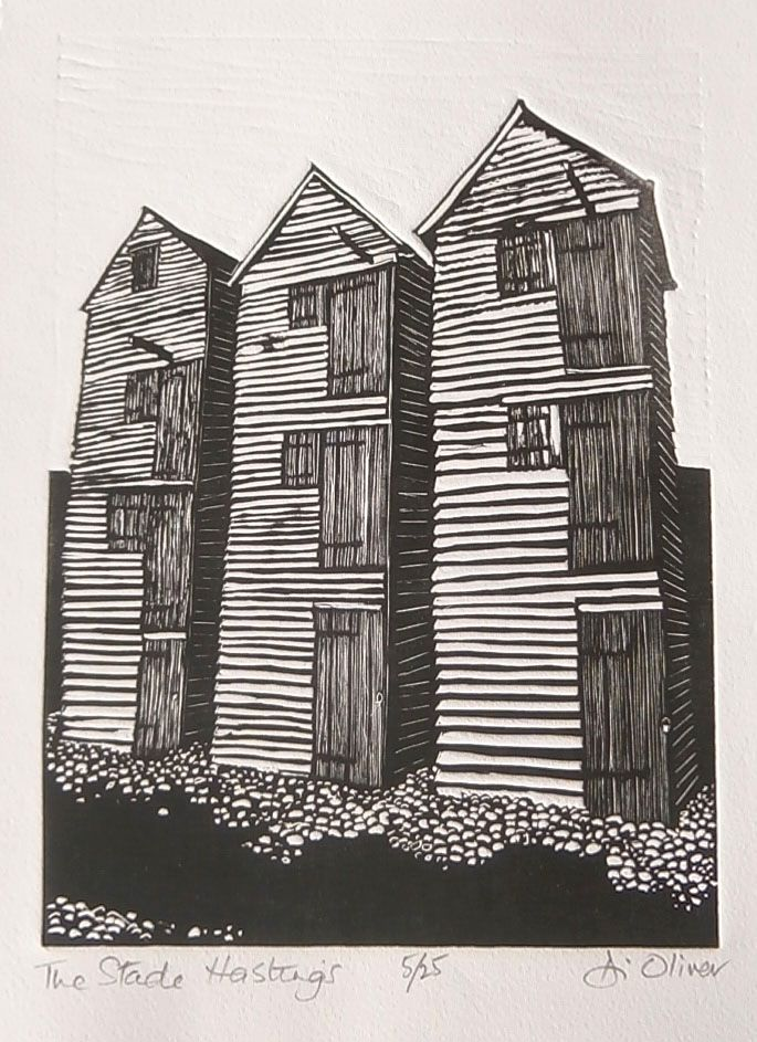 """The Stade Hastings"" linocut by Di Oliver. www.dioliver.co.uk Tags: Linocut, Cut, Print, Linoleum, Lino, Carving, Block, Woodcut, Helen Elstone, Shingle, Buildings."