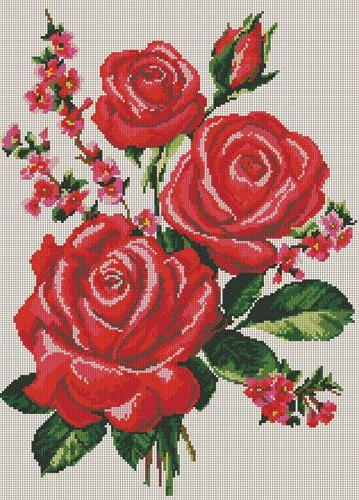 rosas en punto de cruz