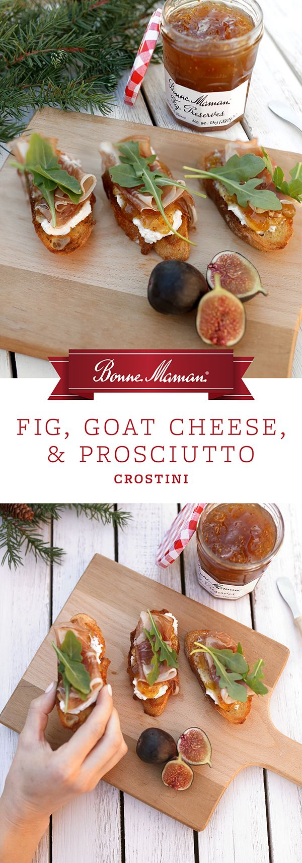 Fig, Goat Cheese, and Prosciutto Crostini- Both smooth and sweet, our Bonne Maman Fig Preserves bring a delightful layer to these tasty bites. With prosciutto, goat cheese, and peppery arugula on a toasted baguette, our crostinis are an easy yet elegant appetizer for Christmas Day.