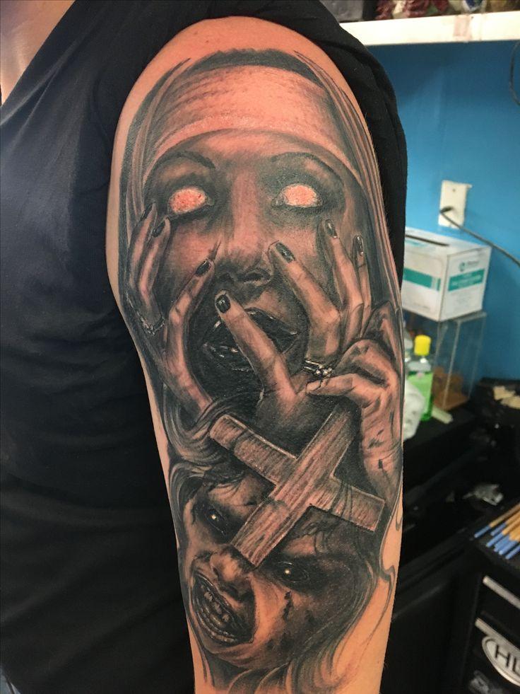 black and grey tattoo horror tattoo evil nun | INK SLINGAS ...