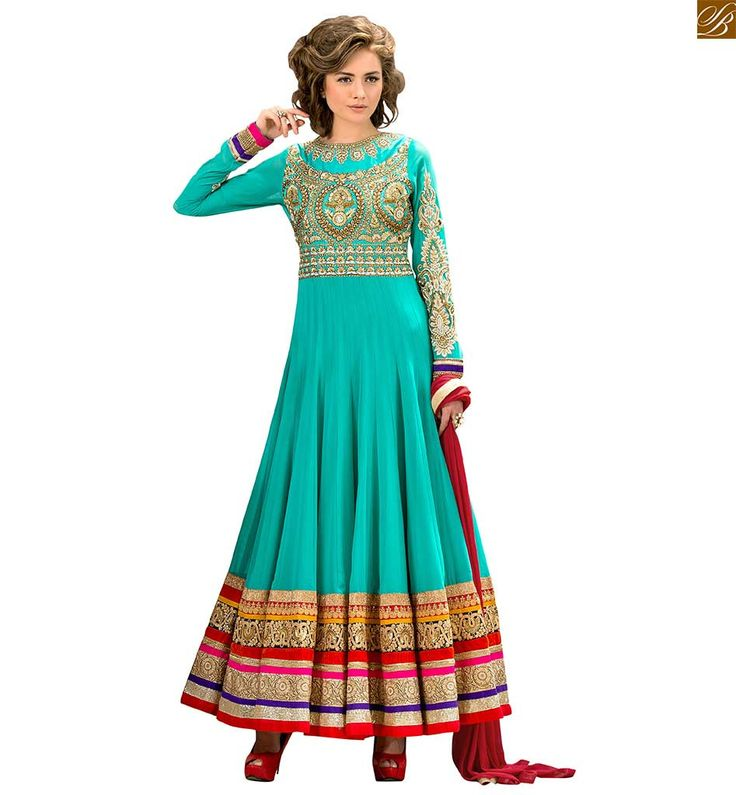 Anarkali salwar kameez designs catalogue style long dress green pure-georgette golden floral #embroidered #anarkali #salwar #kameez with green santoon bottom