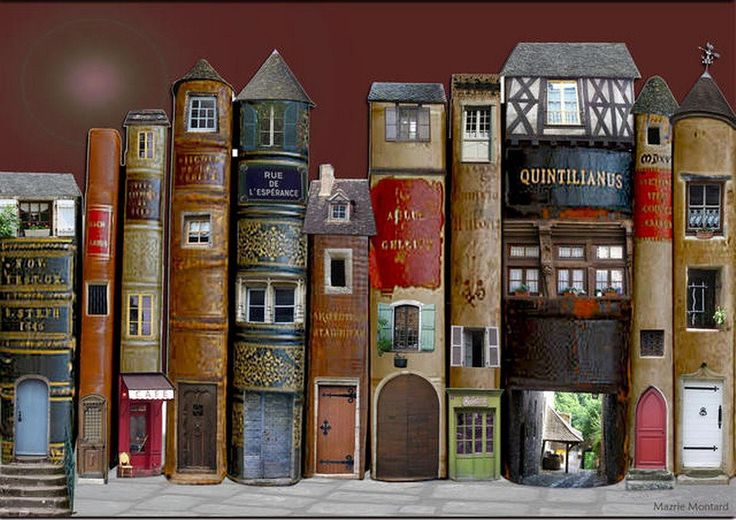 this one is digital, but why not create a little shelf village from old books?    https://www.facebook.com/photo.php?fbid=388701491178382=a.256139234434609.57114.129315637116970=1